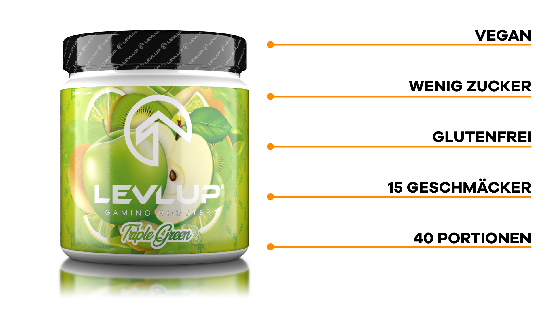 LevlUp Gaming Booster® Tub Triple Green